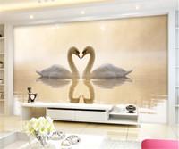 murais wallpaper cisnes venda por atacado-3d Personalizado Foto mural cisne lago papel de parede fundo sofá tv papel de parede murais papel de parede, decoração de casa
