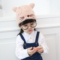 Wholesale Earflap Beanies For Kids - 2017 Knitted small cat Children knit Hats boys girls Winter Hat Plus velvet Two horns Kids Earflap Cap age for 2 -6 Years Old