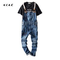 Wholesale Mens Denim Suspenders - Wholesale- 2017 New Arrival Stretched Mens Slim Straight Denim Overalls Distressed Jeans Ripped Jumpsuit Male Suspenders Bibs Blue