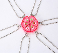 Wholesale candy happy birthday - Wholesale- New Arrive 6 Parts Round Happy Birthday Candy Strawberry Cake Best Friends Resin Pendant Necklaces Friendship BFF Jewelry