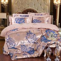 Wholesale Cotton Satin Bedding Set Blue - Wholesale-Hot sale NEW Embroidery flowers High Quality Silk Tencel satin Jacquard Queen size Bedding set Bedclothes Duvet cover set QRJ001