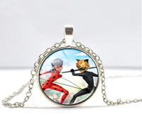 Wholesale Ladybug Charms Wholesale - Miraculous Ladybug Chat Glass Pendant Chain Necklace NEW