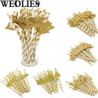 Wholesale Wholesale Xmas Paper - Wholesale- Golden Paper Party Cocktail Juice Drinking Straws Wedding Birthday Events Drinking Tools Xmas Party Ornament Gadgets 25Pcs