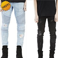 erkek mavi ripped jeans toptan satış-Toptan-Sıcak 2017 Hip Hop Delik Yırtık Kot Erkekler Moda Pileli Pist Sıkıntılı Biker Boy Mavi / Siyah Motosiklet Pantolon Dipleri 28-40