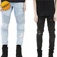 горячий мальчик черный брюк оптовых-Wholesale- Hot 2017 Hip Hop Hole Ripped Jeans Men Fashion Pleated Runway Distressed Biker Boy Blue/Black Motorcycle Trousers Bottoms 28-40