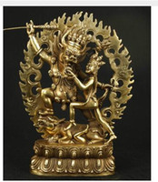 Wholesale Art Casting Materials - decoration crafts Material Copper collectable VERY GOOD CHINESE BRONZE COLLECTABLE CASTING BUDDHA TIBET EXORCISE LOVE STATUE