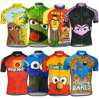 2017 Cartoon Cycling Jerseys Chemises Laughing Planet Cookie Bicyclette Mince Wicking Manches courtes Bike Wear High Elastic Cycling Tops XS-4XL