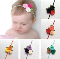flores de feltro bonito venda por atacado-1.5inch Triplo Felt Rosas headband da flor Meninas Meninos flores bonitos do cabelo com Skinny Elastic Headband