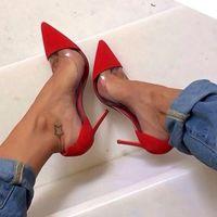 diseño de zapatos de damas de la boda al por mayor-Gianvito Rossi Design Las últimas mujeres de la moda Stiletto Tacones altos Exclusivo de cuero y puntas de PVC en punta zapatos de vestir zapatos de boda de la señora
