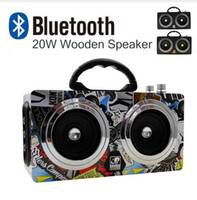 Wholesale bass wooden resale online - 20W Speaker Portable Wooden Bluetooth Speaker Dancing Loudspeaker Outdoor Wireless Stereo Super Bass Subwooofer With FM Radio