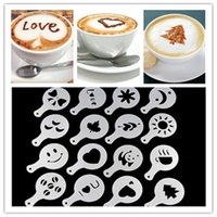 Wholesale Stencils Cakes - Wholesale- 16Pc set Cappuccino Coffee Barista Stencils Template Strew Pad Duster Spray Tools Cake Cupcake Stencil Template Decorating Tools