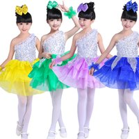 Wholesale Modern Dance Dress Costumes - Girl Sequined Modern Jazz Hip Hop Dance dress kids Ballroom Jazz Hip Hop Performance Dance Costume Dress Dancing Clothing For Children