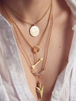 Wholesale Hanging Fishing Scales - Angel wings arrows fish scales hanging tablets multi-layer exaggerated necklace 2017 hot sale fashion necklace good gift