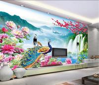 murales de pavo real al por mayor-Wonderland Peacock Landscape Scenery TV Background Fotomural 3d fondos de pantalla 3d papeles de pared para telón de fondo de televisión
