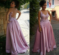 Wholesale delicate lace evening dress - 2017 Delicate Pink Satin A-Line Sleeveless Appliques Prom Dress with Buttons Floor Length African Arabic Evening Gowns