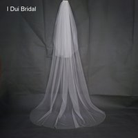 Wholesale Red Hair Nets - Soft Solid Tulle Two Layer Simple Bridal Veil 2 Meter with Comb 2017 New Real Photo Wedding Event Bride Hair Accessory