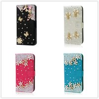 Wholesale Galaxy S4 White Leather Case - Luxury crystal rhinestone flower butterfly Wallet style bling Diamond DIY crown phone case for Samsung galaxy S3 S4 S5 S6 7 Note5 J5 J72016