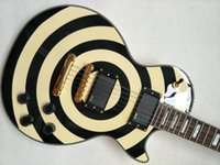 guitarra amarilla al por mayor-Tienda de calidad superior Custom Zakk Wylde bullseye amarillo Negro EMG Pickup Guitarra eléctrica Floyd Rose Tremolo Bridge Gold Hardware