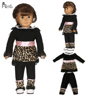 Wholesale Handmade American Girl Doll - baby Birthday gift 18 inch American girl Fashion Leopard leisure clothing doll accessories Handmade