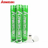 Atacado- 2017 Genuine Kawasaki Durable Badminton Shuttlecock Training 10 Duck Feather Ball Cork