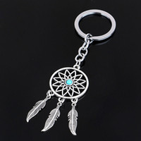Wholesale Metal Keyring Chains - 2016 Fashion Dream Catcher Silver Tone Key Chain Silver Rings Feather Tassels Keyring Keychain For Gift