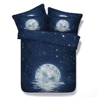 Wholesale Water Bedspread - Star Galaxy Dark Blue Moon Water 3D Printed Bedding Set Twin Full Queen King Size Bedspreads Bedclothes Duvet Covers Fashion Design Hot Sale