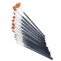 ingrosso i capelli della vernice acrilica-12 Pz / set Nail Art Penna bottiglia di Nylon Capelli Pennello Varietà Stile Breve Asta Olio Pennello acrilico Penna acquerello Rifornimenti d'arte