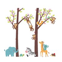 Wholesale giraffe baby rooms - Cartoon Squirrel Monkey Climbing Tree Wall Stickers Kids Boys Girls Babies Infant Room Decor Wallpaper Poster Giraffe Zebra Elephant Graphic