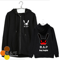 Wholesale Bunny Jacket Woman - Kpop bap b.a.p member name and personal bunny images printing zipper jacket for men women fans supportive hoodie