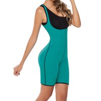 Wholesale One Piece Shaper Suits - Wholesale- XS - 5XL blue sexy sweat One Piece body shaper waist corset hot shaper sweat enhancing thermal vest sauna suit Bodysuits E13