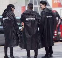 Wholesale Women Raincoat - 2018 Newest TOP hip hop kanye west fashion Vetements One Size windbreaker waterproof raincoat jacket black men women