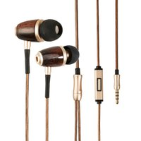 Wholesale Noise Ear Plugs Wholesale - Dikoo Wood Earphone With Microphone 3.5mm Gold Plated Plug Fone De Ouvido Wire Earbuds Handsfree In-Ear for Iphone Samsung
