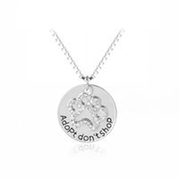 Patte De Chien En Cristal Pas Cher-Ne pas acheter ADOPT Paw Cat Dog Pet Lover Crystal Puppy Paw Message Crystal Paw Print Pendant Necklace