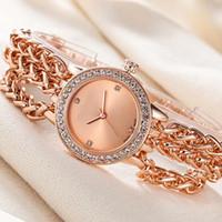 Wholesale Chains Wrist Watch - Fashion design Brand women's Girl crystal Dial Stainless steel Chain band Quartz wrist Watch M108
