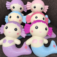 Wholesale Wholesale Mermaid Dolls - 2017 new 10Pcs Lot NewJumbo Kawaii Mermaid Squishy Cartoon Scented Bread Cake Super Soft Slow Rising Doll Kid Toy Wholesale