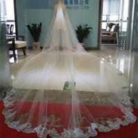 Wholesale Ivory Beaded Lace Chapel Veil - Bling Bling Wedding Veils Chapel Long Lace Edge With Crystals 4M Bridal Accessories For Weddings Two Layers Custom Made Ivory White