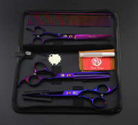 Wholesale Thinning Scissor Sets For Dogs - Purple Dragon scissors for dog grooming,CUTTING & THINNING & CURVED shears in 1 set,Professional Pet grooming scissors sets
