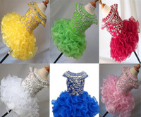 Wholesale National Glitz Dresses - Wholesale New 2017 National Girls Glitz Beaded Crystal Pageant Cupcake Dresses Infant Mini Short Skirts Toddler Tutu Girl Pageant Party Dres