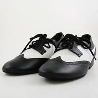 Wholesale Tango Dance Shoes Men - Spot wholesale Mens Black White Real Leather Flats Modern dance shoes Tango Party Ballroom dancing shoes