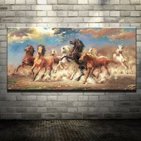 Wholesale Modern Painting Horses - Modern Oil Painting (No Frame) Abstract Horses Canvas Animal Giclee Wall Art picture for Living Room Home Decoration (Size:5 sizes)