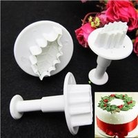 Wholesale Rose Leaf Cutter - Wholesale- 3Pcs Set New DIY Christmas Rose Leaf Cake Icing Fondant Plunger Cutter Pastry Mold Cake Decorating Tools F0552