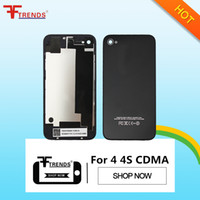Wholesale Housing Battery Iphone 4s - Back Glass Battery Housing Door Back Cover Replacement Part with Flash Diffuser for iPhone 4 4 CDMA 4S Black White 1pcs Free Ship