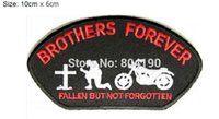 """Wholesale Motorcycle Jackets Pants - 3.9"""" BROTHERS FOREVER FALLEN BUT NOT FORGOTTEN Outlaw MC Embroidered Motorcycle Biker Vest Patch IRON ON Badge Jacket Hats Pants party favor"""