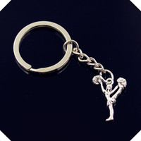 new-fashion-men-30mm-keychain-DIY-metallo-porta-catena-vintage-cheerleaders-cheering-dance-26-17mm-chiave d'argento d'argento