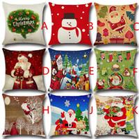 Wholesale Santa Claus For Man - Christmas Cushion Cover Santa Claus Pattern Square Pillow Case for Sofa Home Decorative Pillow snow man christmas tree (7)