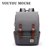 Wholesale Mouse Retro - Wholesale- YOUYOU MOUSE Fashion Women Canvas Backpack Men Oxford Travel Backpacks Retro Casual Backpacks School Bags For Teenagers