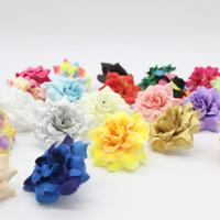kopfstück clip großhandel-100 Stücke 1,77 Zoll Kunstseide Kleine Rose Blütenköpfe Hausgarten Decor Party Hochzeit Haarspange Gefälligkeiten Afh0047