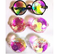 Wholesale Rainbow Sunglasses - WOMEN Fashion Geometric Kaleidoscope Glasses Rainbow Rave Lens Bling Bling Prism Crystal Party Diffraction Sunglasses KKA3280