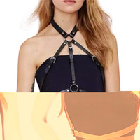 Wholesale Harness Belt Leather Women - Wholesale- Fashion Punk Harajuku O-Ring Garters Faux Leather Body Bondage Cage Sculpting Harness Waist Belt Straps Suspenders Belt