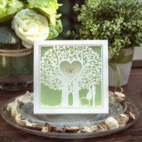 impresión de tarjetas de invitación de boda al por mayor-Venta al por mayor tarjetas de invitación de boda verde, elegantes invitaciones de boda de corte láser, Personalizar personalizar, envío gratuito, impresión